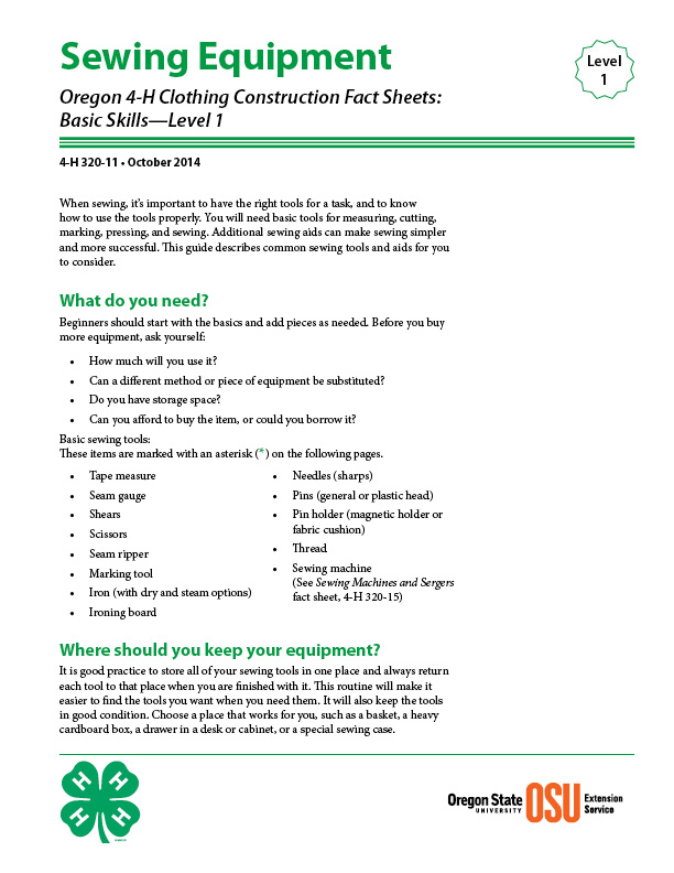 Oregon 4 H Clothing Construction Fact Sheet Sewing