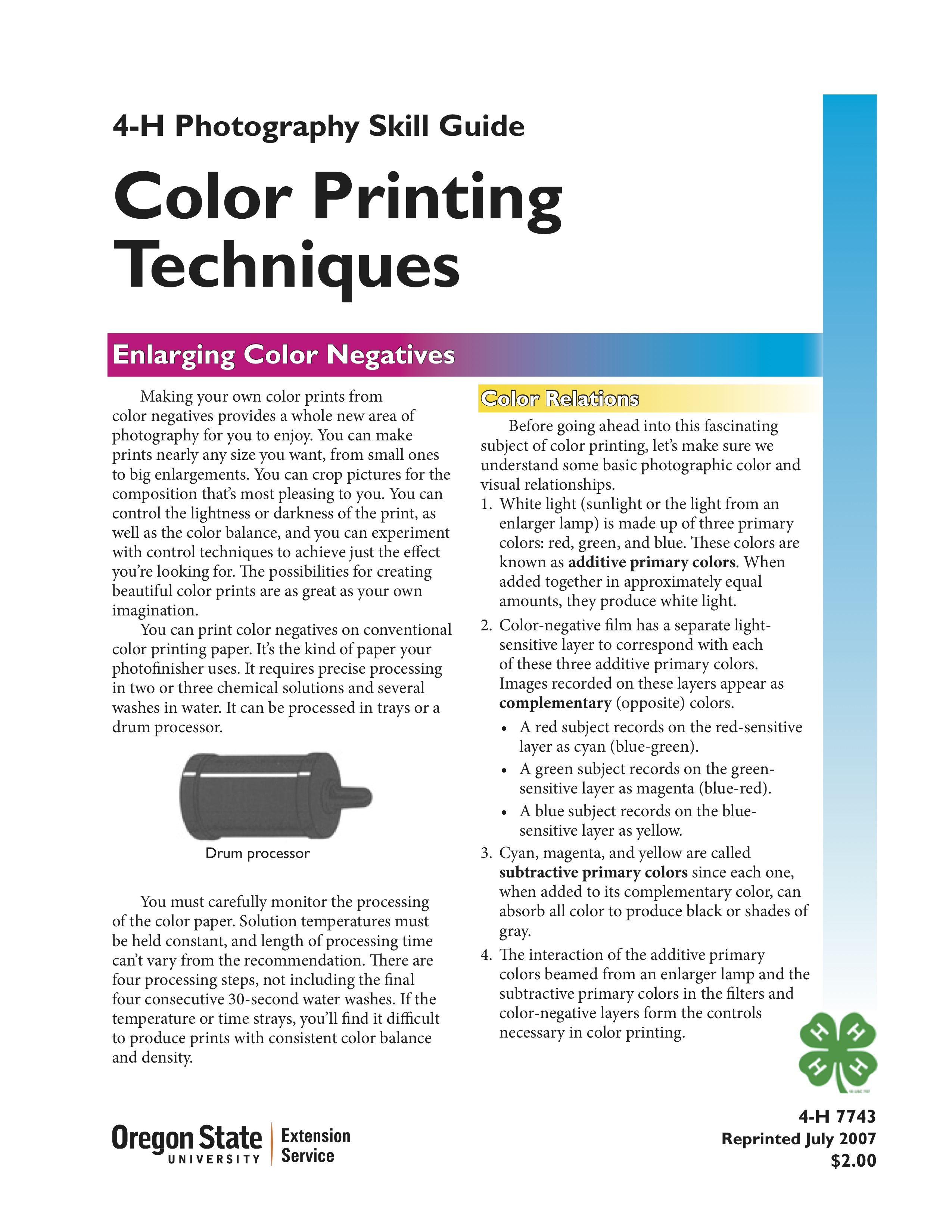 Color Printing Techniques 4 H Photography Skill Guide