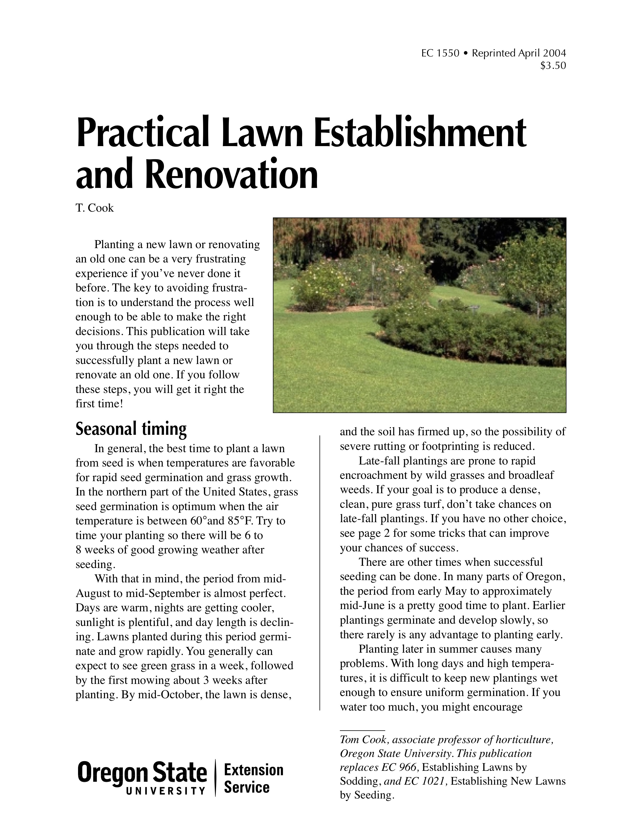 Practical Lawn Elishment And Renovation Osu Extension Catalog Oregon State University