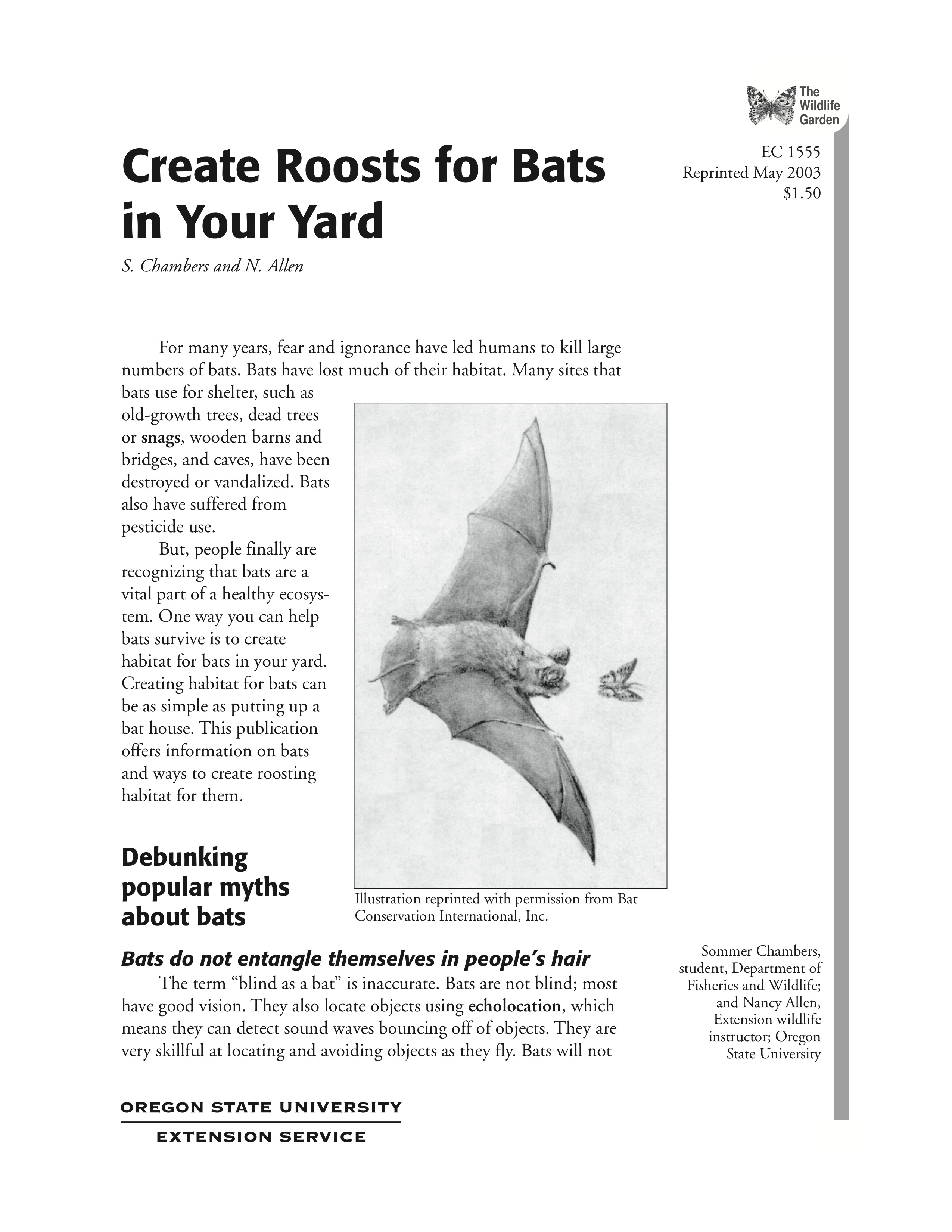 The Wildlife Garden Create Roosts For Bats In Your Yard Osu