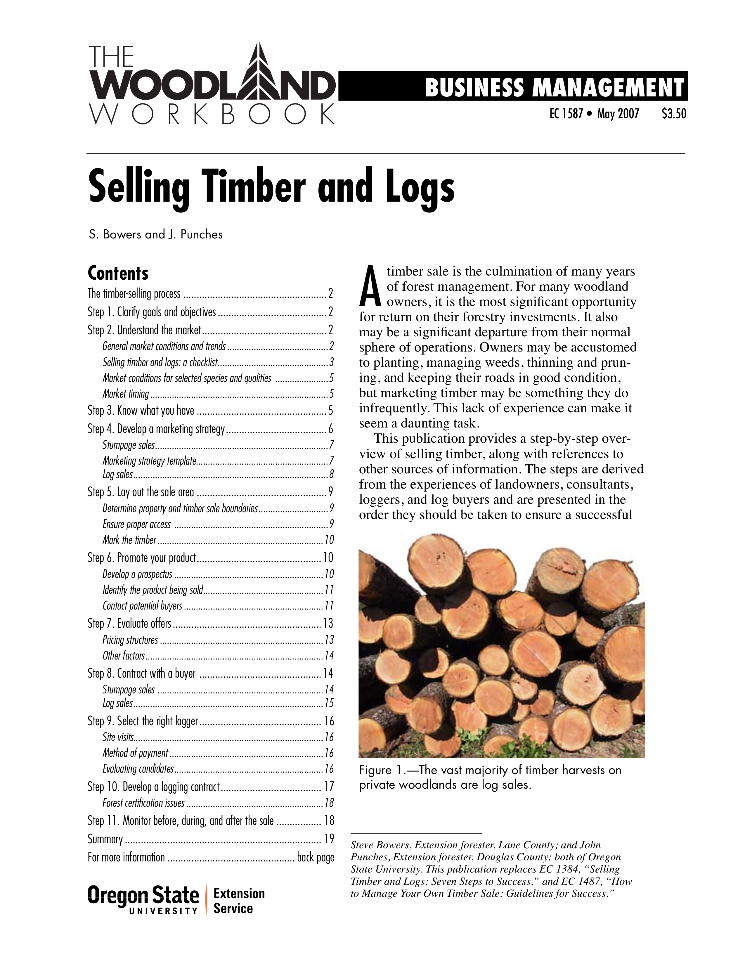 selling timber and logs osu extension catalog oregon state