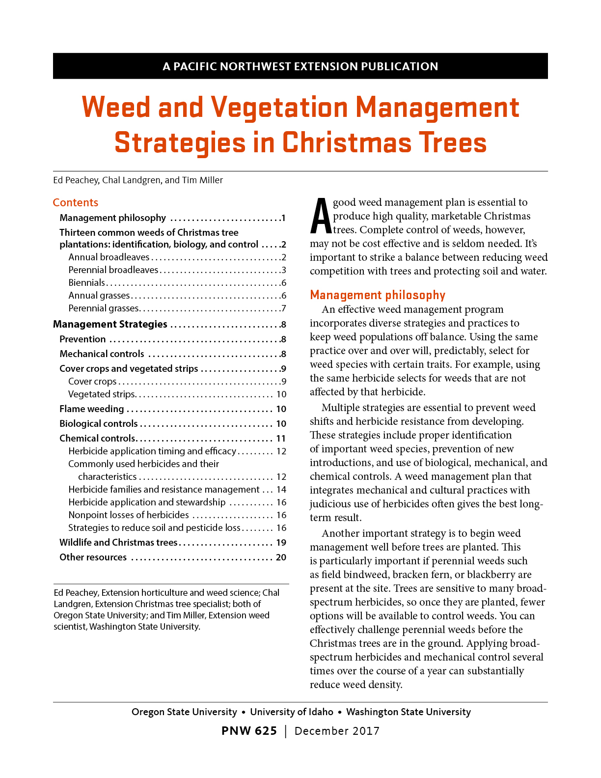 Weed And Vegetation Management Strategies In Christmas Trees Osu