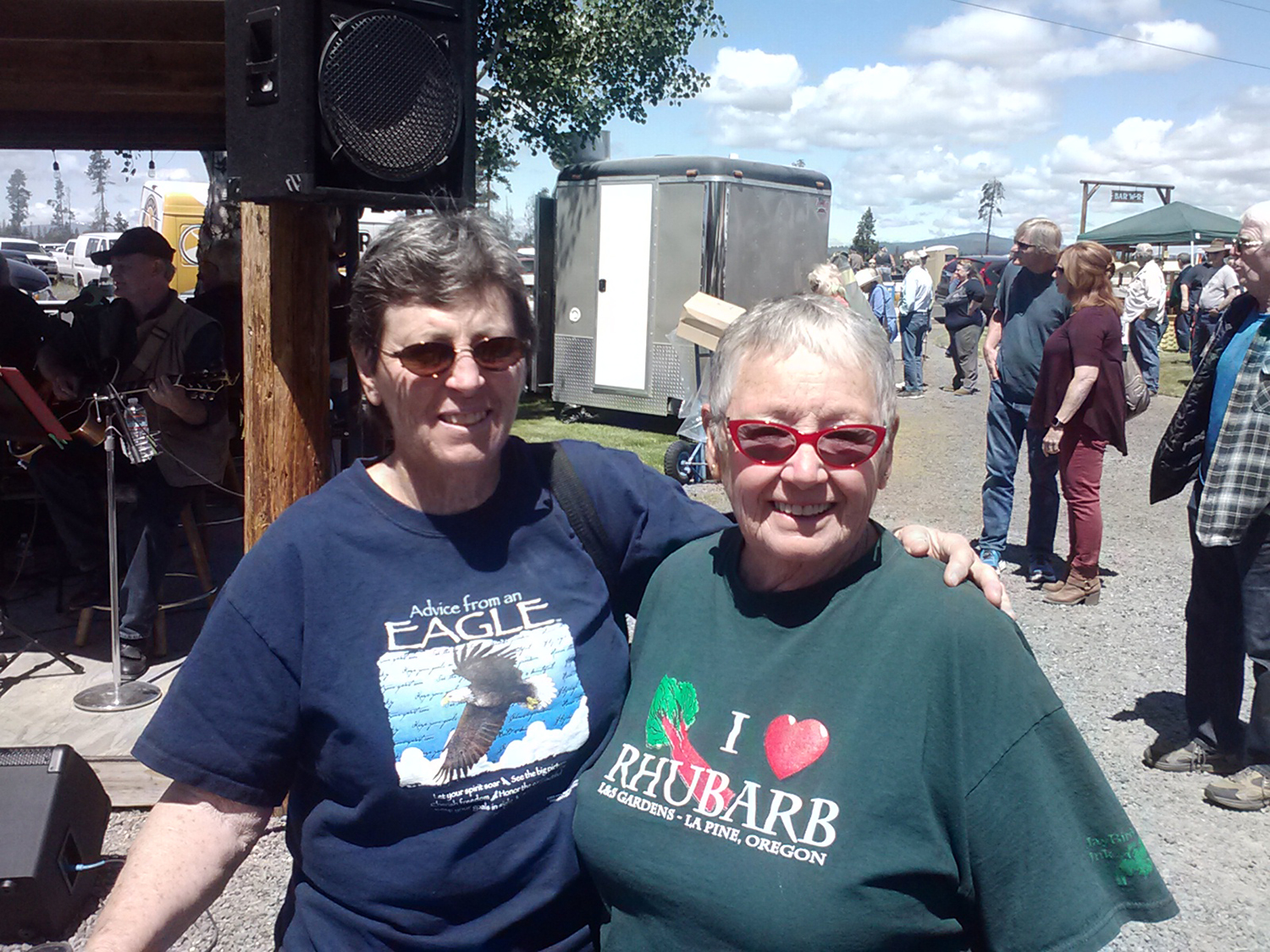 Rhubarb grower and rhubarb cookbook author Linda Stephenson, right, with a friend at the annual Rhubarb Festival in La Pine, Oregon.
