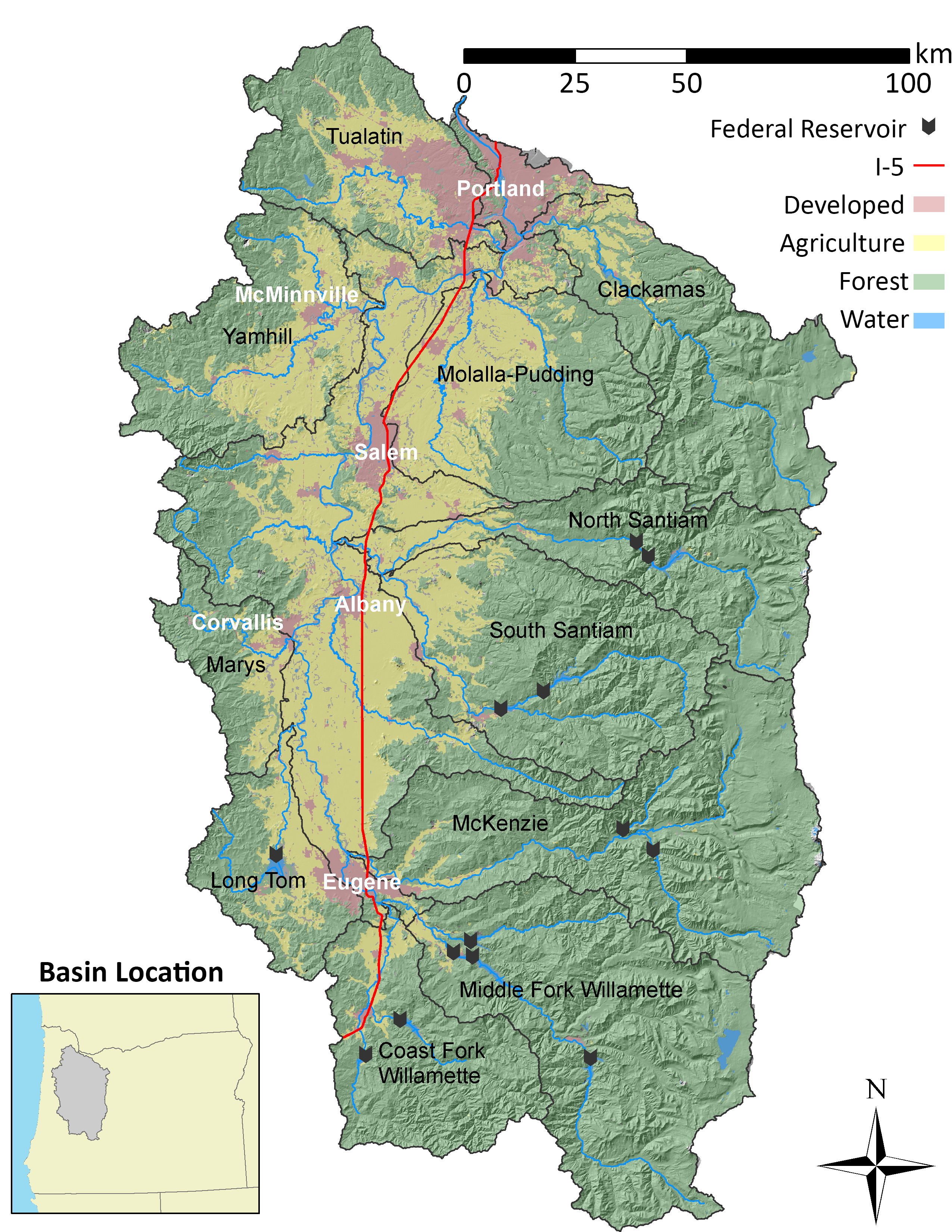 Map of the Willamette River Basin