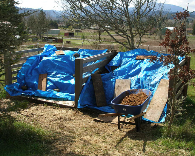 Figure 12. By protecting manure piles from rain, you can retain nutrients present in manure rather than letting them run off or leach into the soil below the rooting zone. Photo: Melissa Fery, © Oregon State University