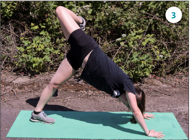 From a downward dog, lift right leg up and let it fall backwards, actively stretching towards the left. Switch legs.