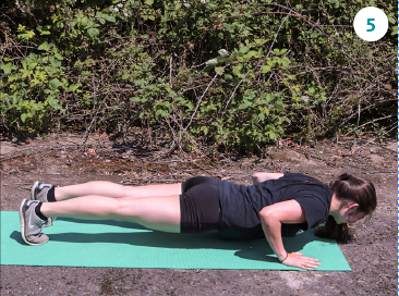From plank, bend elbows and lower your body, hovering above the ground