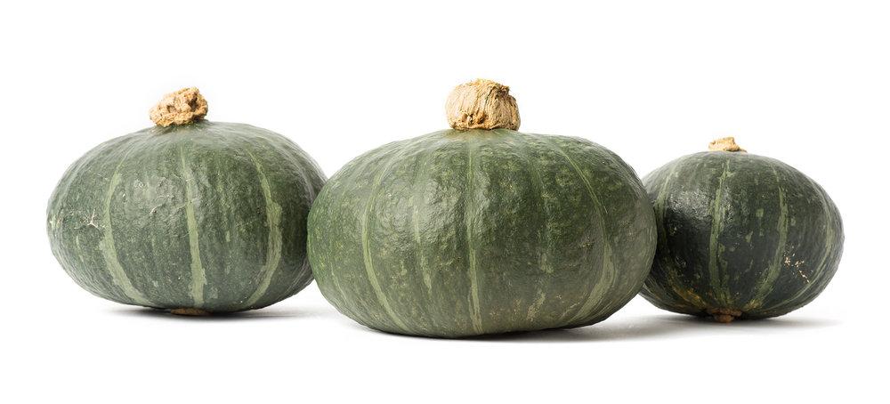 A photo of a green kabocha called Sweet Mama