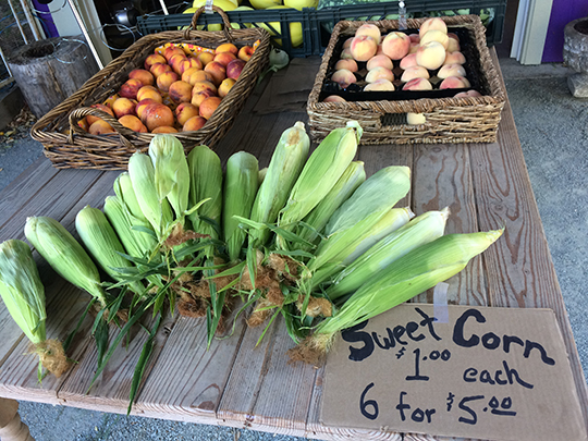 Popular produce such as corn and peaches will attract customers to your farm stand.