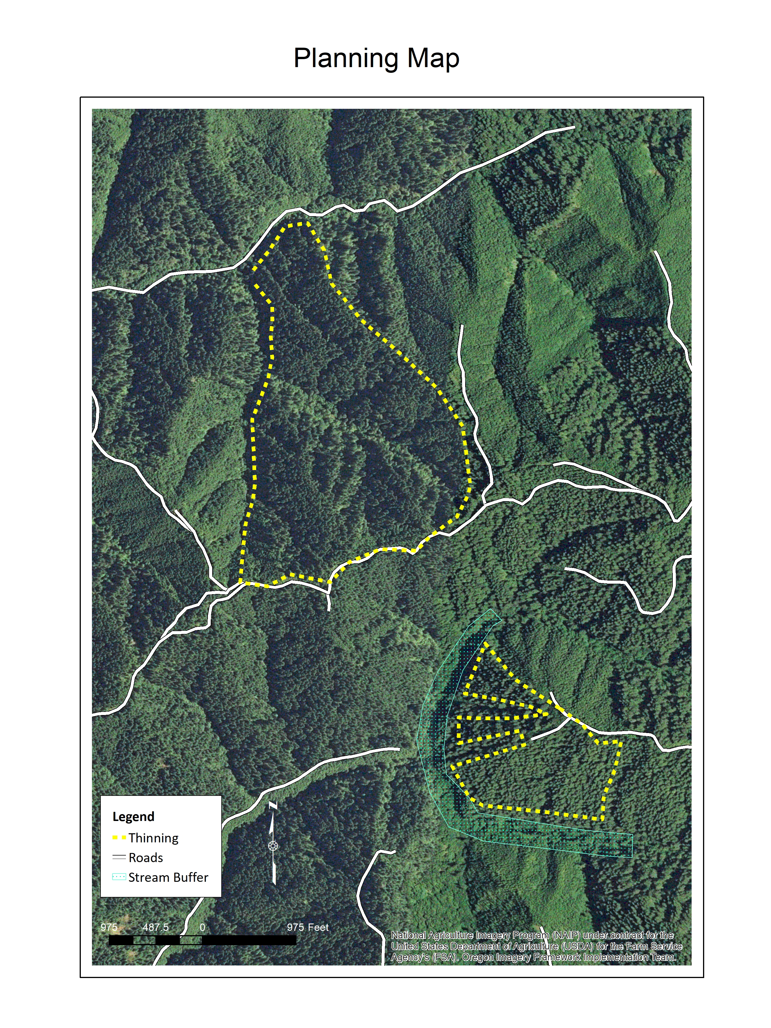 Image: Norma Kline Figure 15: A planning map created using GIS. Layers include an aerial photograph, thinning boundaries and a stream buffer.
