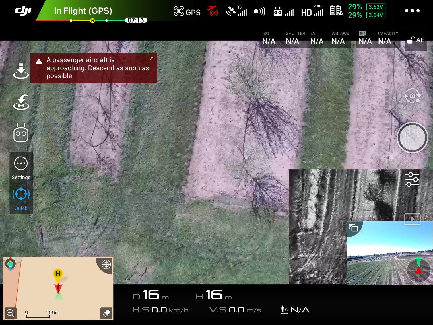 Figure 4. Screenshot of a flight display on a tablet during an unmanned aerial system flight. The display includes many inputs, including the RGB image (large image), the IR image from the same camera (lower right), and the flight path camera (smallest image lower right). Other information displayed includes battery remaining (upper right), GPS status (upper middle), flight path confliction (upper-middle and upper left warnings, controlled airspace shown lower left).