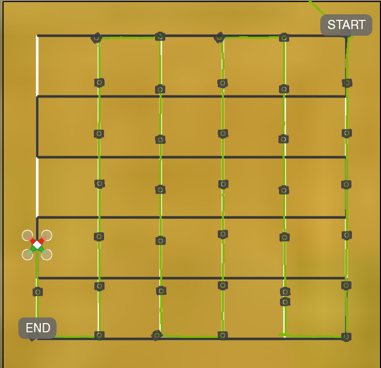 Figure 6. Screenshot of a unmanned aerial system flight in progress using a double-grid flight plan to ensure adequate image collection. The unmanned aerial system location is indicated by the red and green quadcopter icon. The green line indicates flight path already traveled, in this case, it has almost completed the white-lined part of the double-grid pattern and will next fly the black-lined pattern. The camera icons show locations of each image capture along the route.