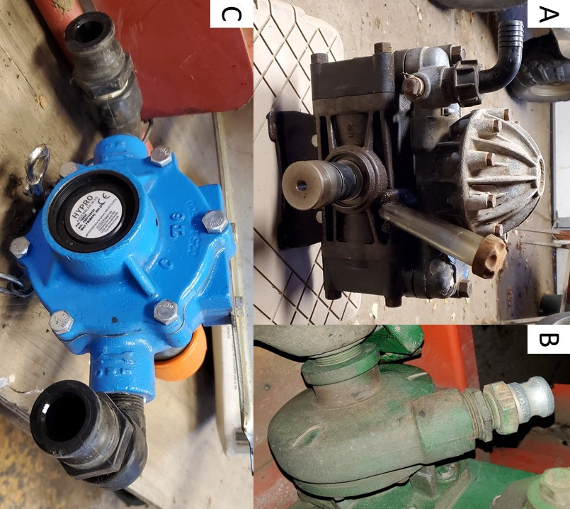 Photos: Brent Warneke, © Oregon State University Figure 5: Sprayer pumps commonly used in specialty crop sprayers: (A) diaphragm, (B) centrifugal and (C) roller pump.