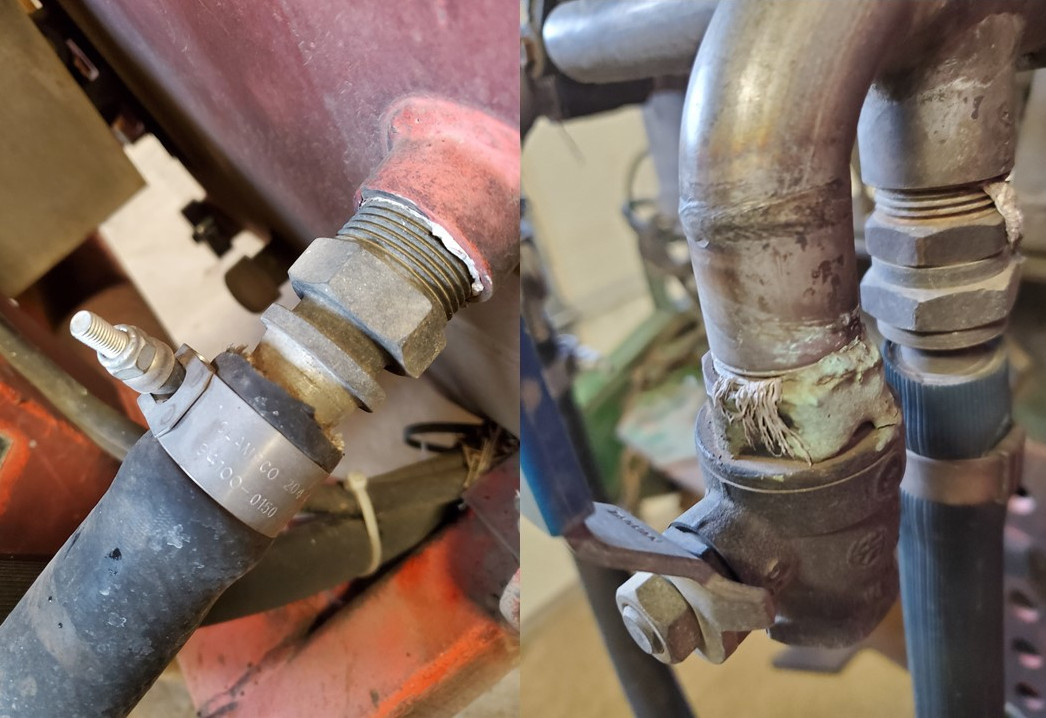 Photos: Brent Warneke, © Oregon State University Figure 6: A hose that could be better seated and secured (left), and a pipe connection that has some corrosion (right).