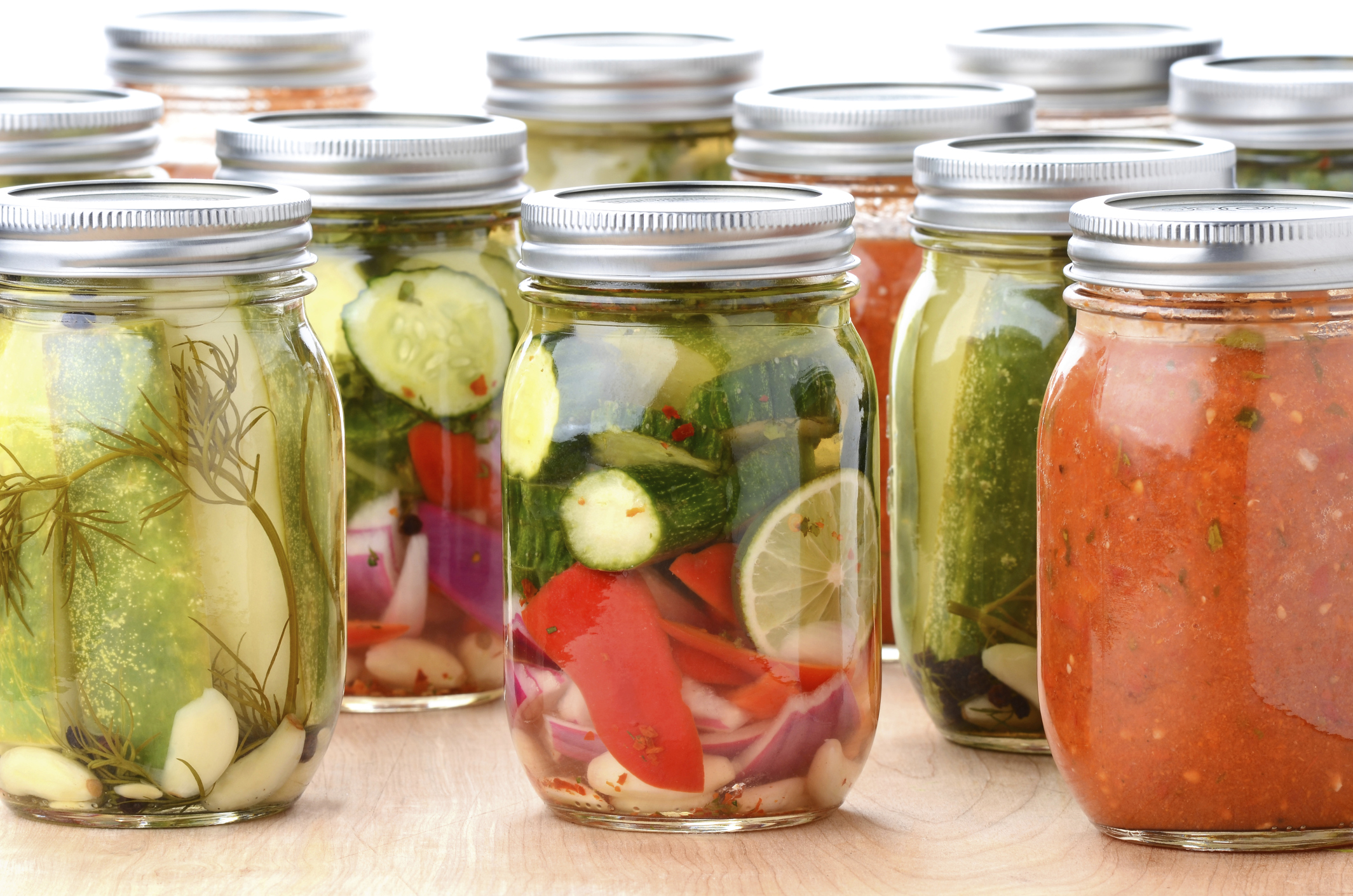 A wide variety of garden vegetables can be canned or pickled.