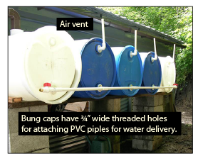 Figure 10c. Alternate way to connect food-grade, 55-gallon barrels in a series for rainwater storage and delivery. Bung caps used for securing contents of the barrels have ¾-inch pipe threads to easily connect PVC pipes for water delivery.