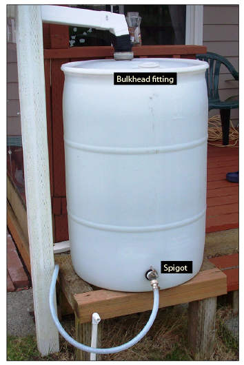 Figure 11. Commercially available rain barrels are fitted with a bulkhead fitting and spigot for garden watering.