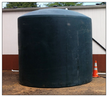 Figure 12. Polypropylene water storage tank with a 10,000-gallon capacity.