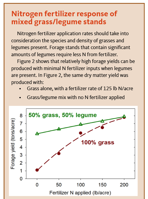 Graph and text describing forage dry matter yield response to N fertilizer in irrigated grass/legume pastures