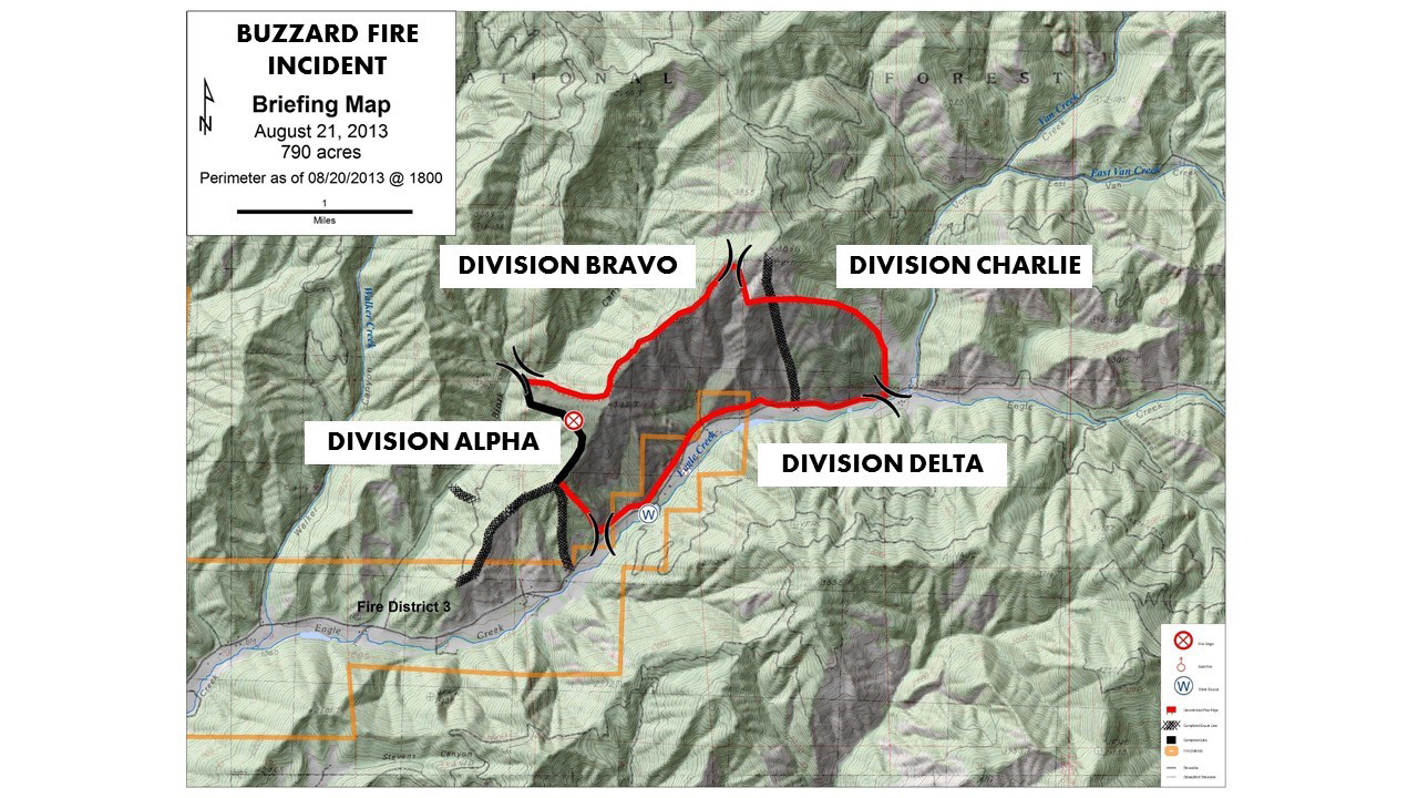 Figure 17. Wildland fire divisions start with Alpha at the origin of a fire and continue alphabetically in a clockwise direction. A growing wildland fire requires the continuation of divisions to designate the additional land area. Achieving a manageable span of control by supervision of resources and achievement of objectives determines the size of the division. When fires outgrow the initial alphabet, a double alphabet designation is used.