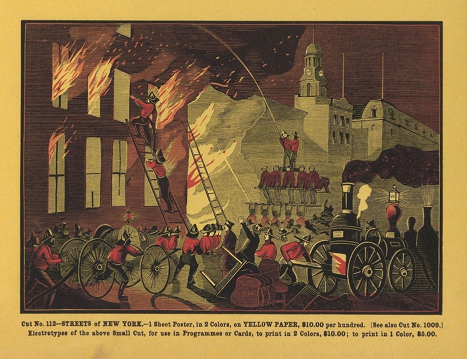 Figure 2. An illustration depicting firefighters battling a structure fire in New York City.