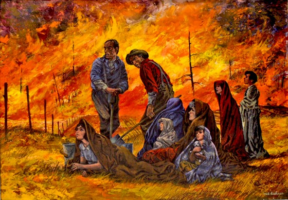 Figure 3. A painting depicting the 1871 Peshtigo Fire.