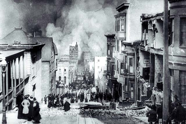 Figure 5. After the 1906 quake, people on Sacramento Street are awestruck by the enormity of the devastation and the resulting fires in San Francisco.