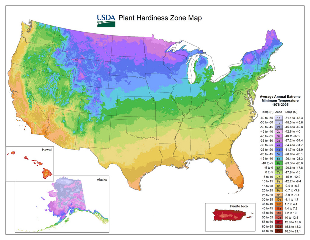 Figure 13. The USDA Plant Hardiness Zone Map helps gardeners and growers determine what will thrive at a certain location.