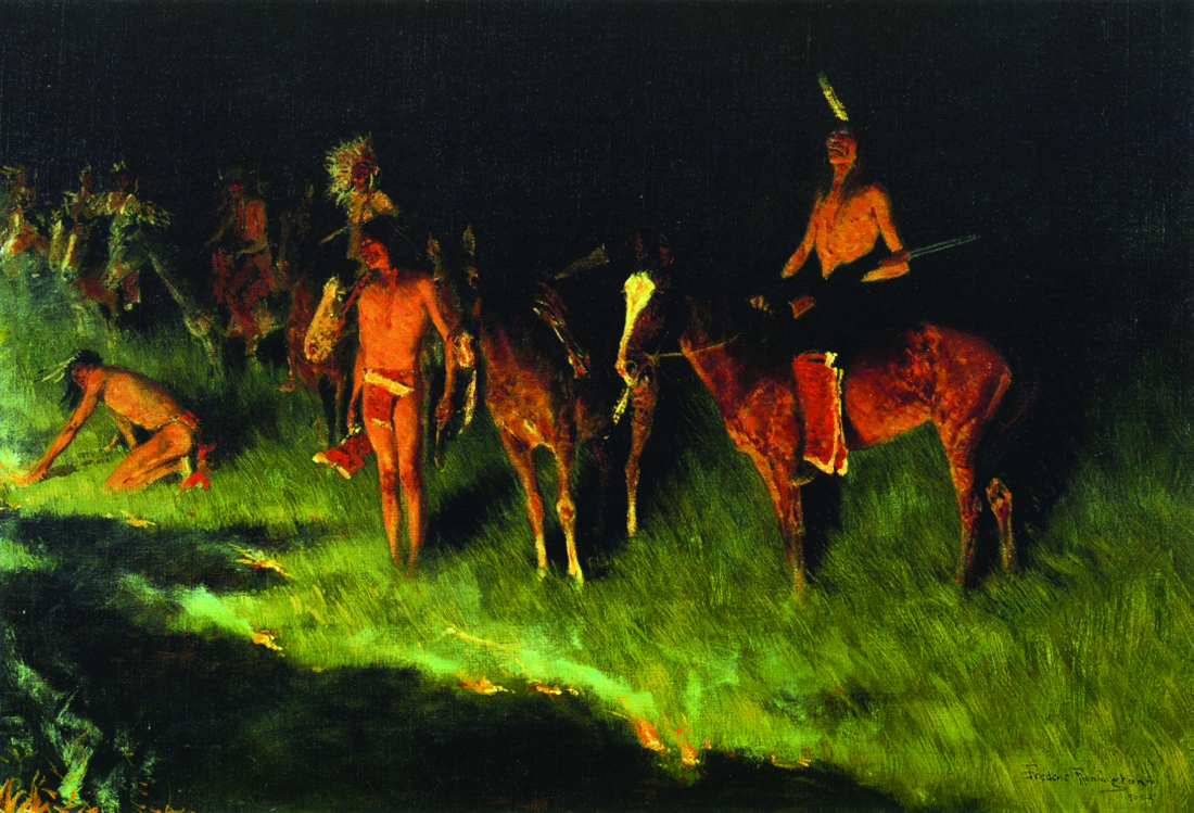 "Figure 1. ""The Grass Fire"" by Frederic Remington depicted Native Americans setting a grass fire. The picture was painted in 1908 and is owned by Amon Carter Museum in Fort Worth, Texas."