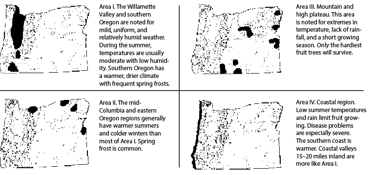 Oregon growing areas for fruits and nuts; the areas are determined largely by climate. Table 1 shows which areas are suitable for various fruit and nut crops.