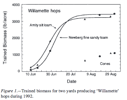 Trained biomass for two yards producing 'Willamette' hops during 1992