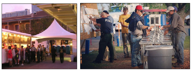 Figure 11. Photos show washing and dining facilities set up to support firefighters working on a wildfire.