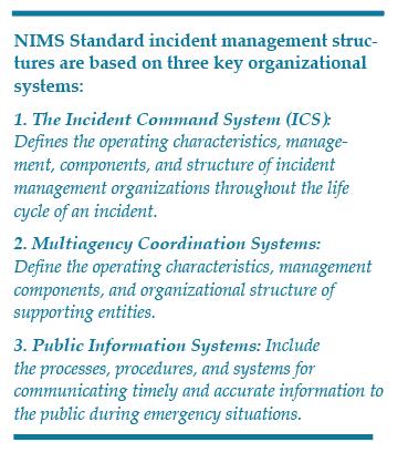 NIMS Standard incident management structures