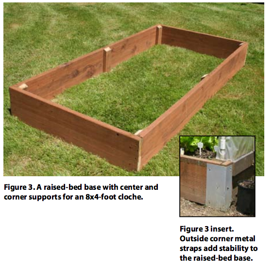 A raised-bed base with center and corner supports for an 8x4-foot cloche.
