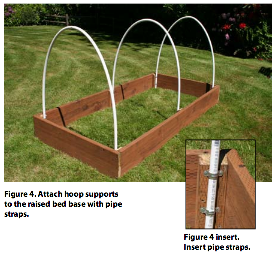 Attach hoop supports to the raised bed base with pipe straps.