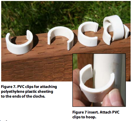 PVC clips for attaching polyethylene plastic sheeting to the ends of the cloche.
