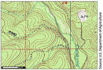 A topographic map showing contours, elevation, drainages, roads, and other features.