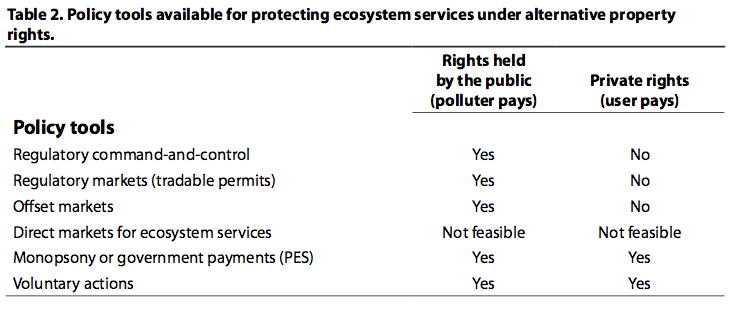 Policy tools available for protecting ecosystem services under alternative property rights.