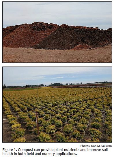 Figure 1. Compost can provide plant nutrients and improve soil health in both field and nursery applications.