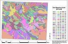 Figure 2. Soils map of the 16,000-acre Northern Great Basin Experimental Range showing 54 different soil mapping units on the property. Adapted from Lentz and Simonson (1986). Graphic by Tony Svejcar.