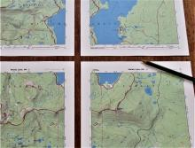 Photo: Norma Kline, © Oregon State University Figure 6. A USGS topo map printed in quarters on a home printer from the National Geographic Trail Maps website.