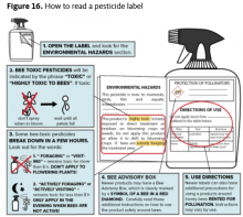 Pesticide labels provide key information on how and when to use a product to avoid exposure to pollinators. Information may be located on several parts of the label. Cards that interpret information on labels are available through the Oregon Bee Project.