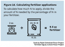 Divide the amount of N needed by the percentage of N in your fertilizer