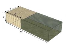 Schematic of design, 10 feet long, 2 feet high, 4 feet wide
