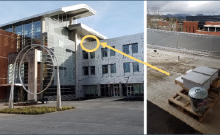 Example of how elevating an apiary above a very public courtyard (at Oregon State University)