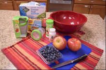 This photo displays the equipment needed to freeze fruit.