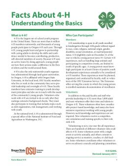 Image of Facts About 4-H publication
