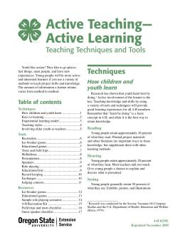 Active Teaching—Active Learning: Teaching Techniques and Tools ...