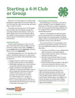 Image of Starting a 4-H Club or Group publication