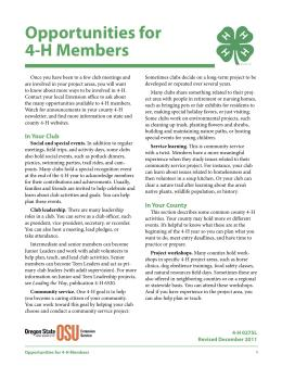 Image of Opportunities for 4-H Members publication